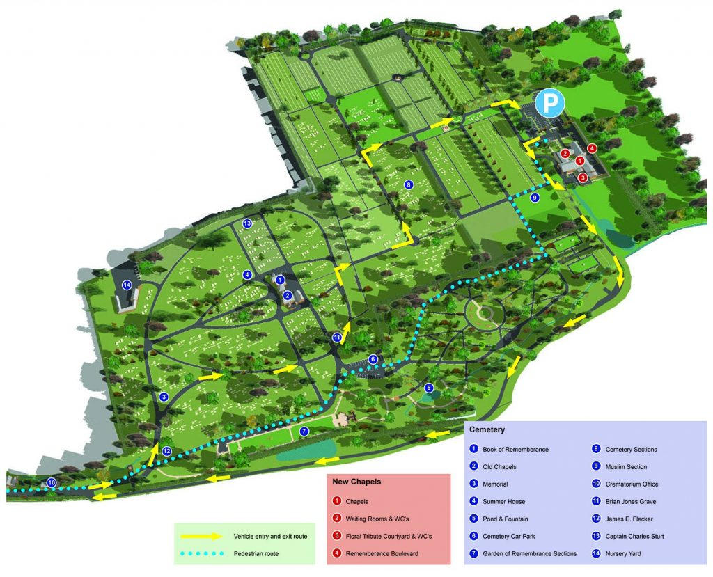 Map of the cemetery and crematorium site with directions