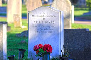 Headstone for Brian Jones grave