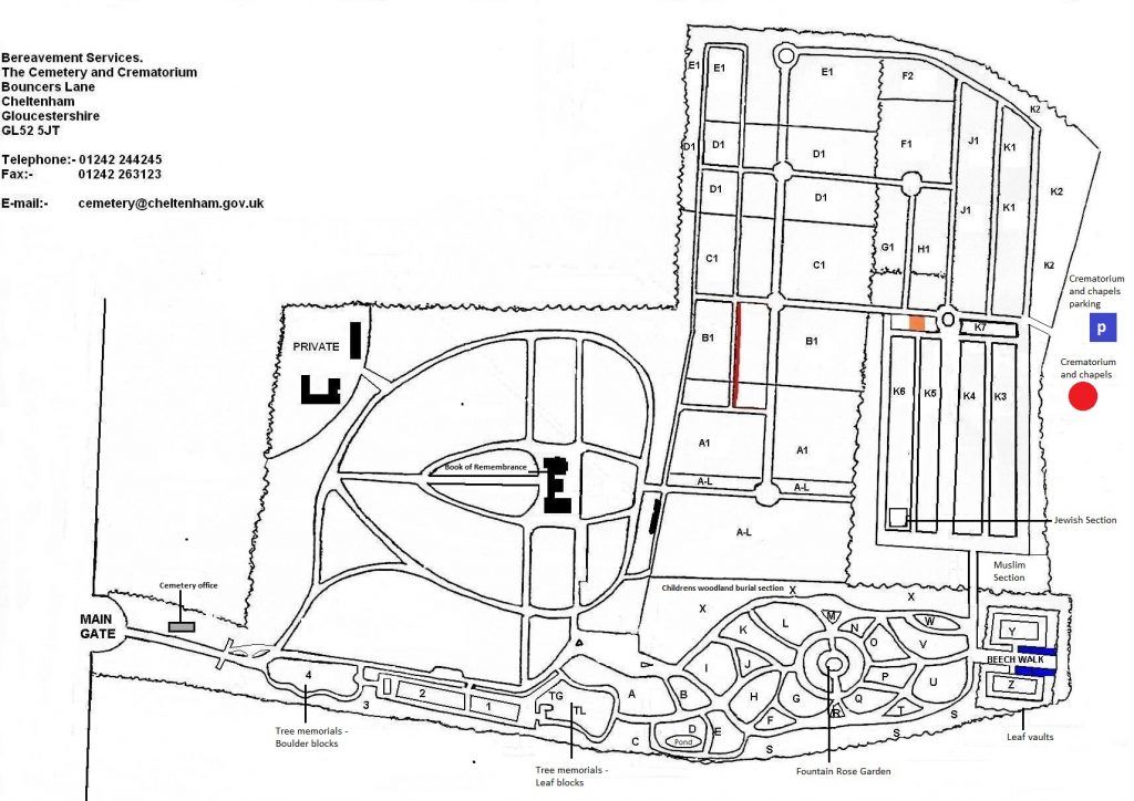Cemetery site layout with section identifiers
