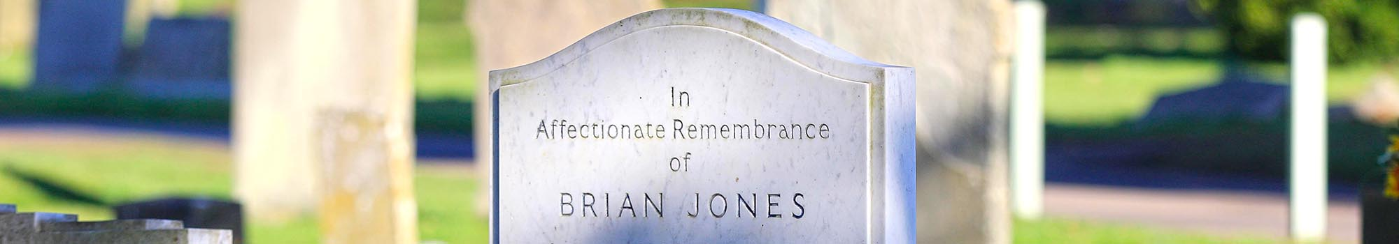 Grave of Brian Jones in the cemetery grounds