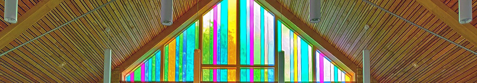Stained glass window in Oak chapel