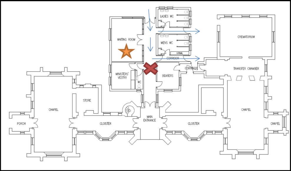Plan showing waiting room area in old chapel
