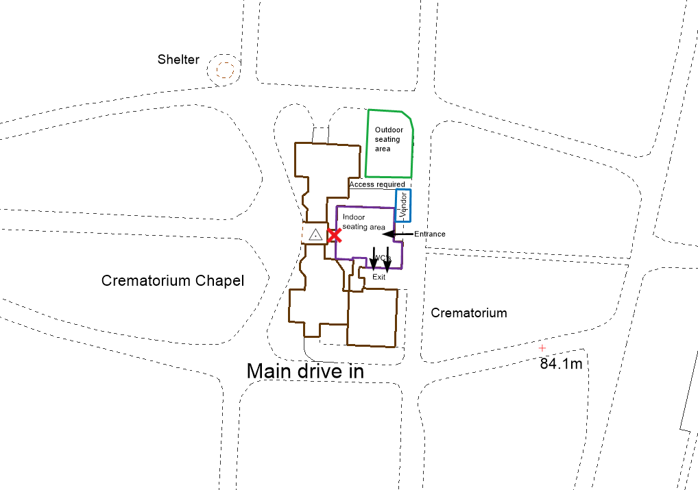 Plan showing potential layout and areas for use by a vendor