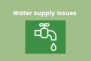 Image with text reading 'water supply issues' and an icon of a tap dripping